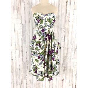 Nanette Lepore silk floral strapless dress size 6